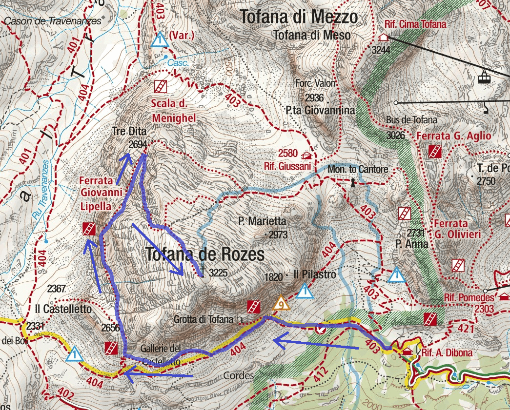 Lipella Ferrata Map Outward Itinerary