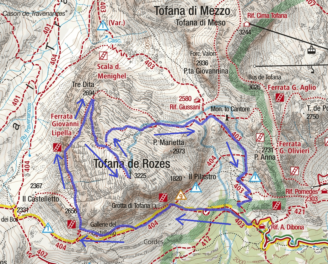 Lipella Ferrata Map Return Journey