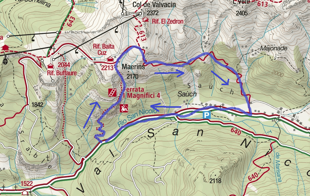 Magnificent Ferrata Map 4 Itinerary