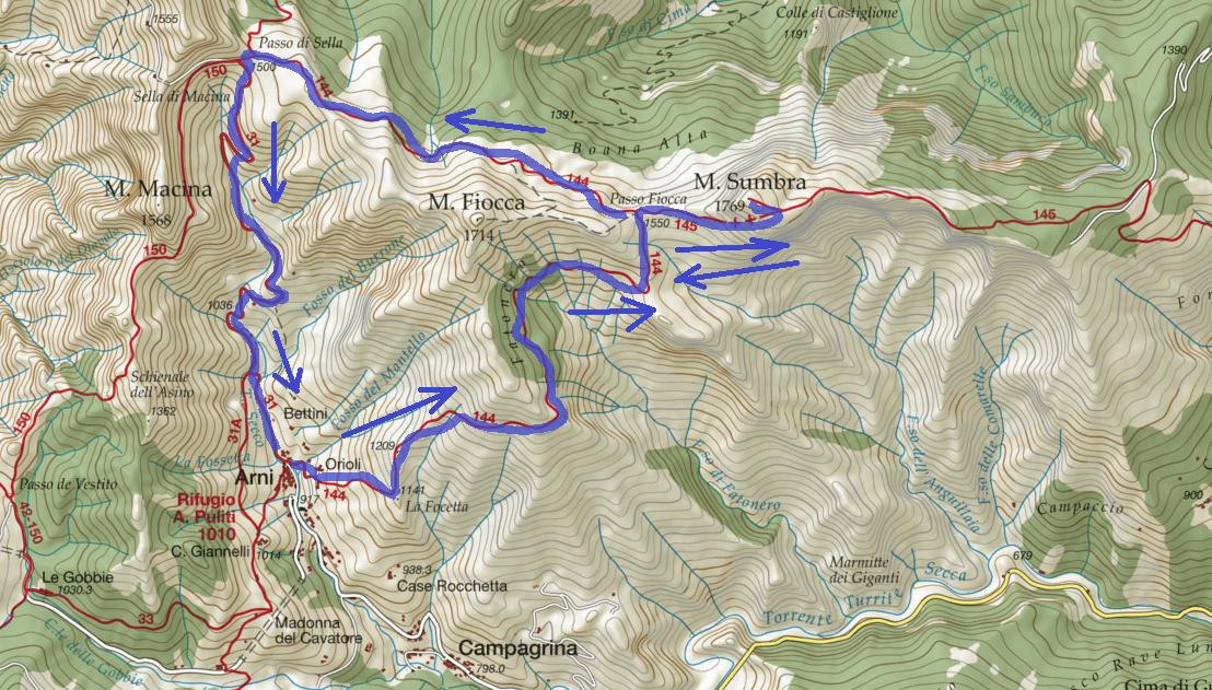 Cartina Ferrata Malfatti Monte Sumbra Itinerario