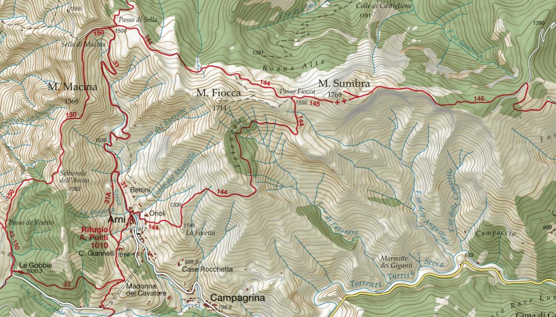 Ferrata Malfatti Monte Sumbra Map