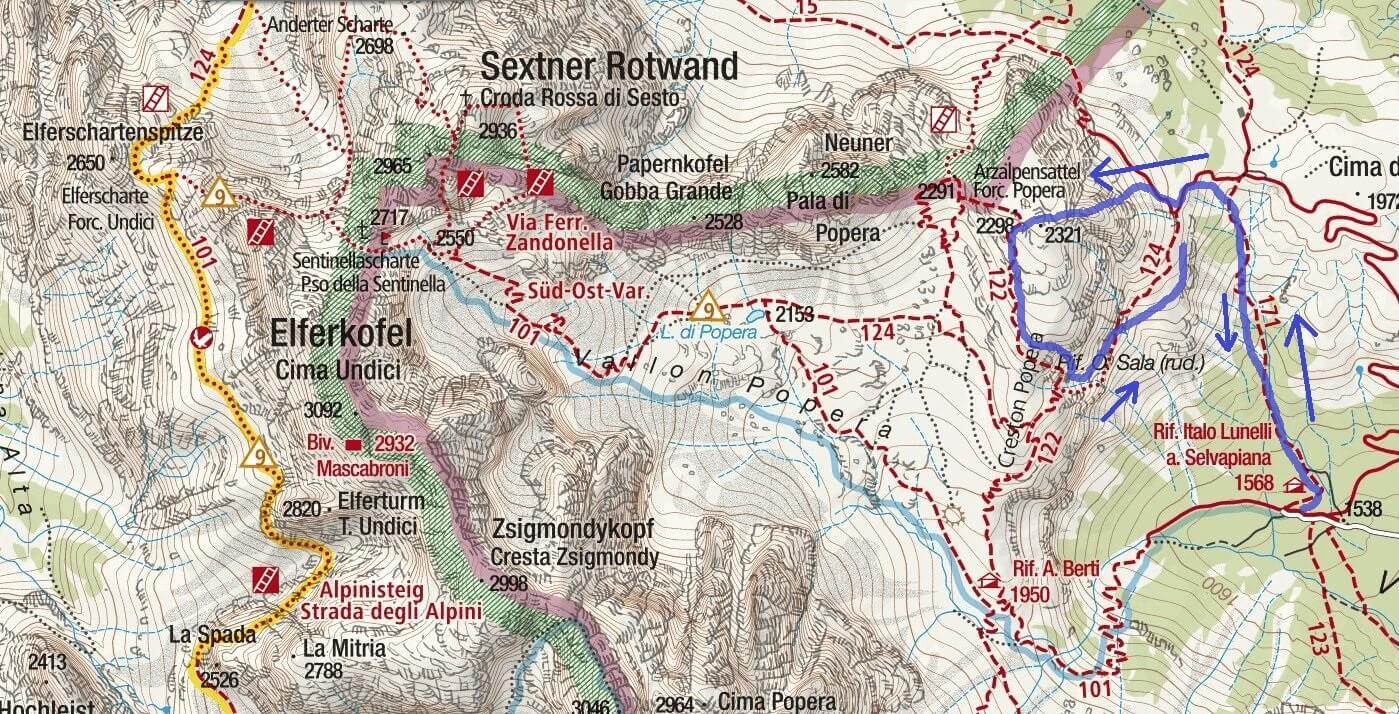 Cartina Ferrata Martini Colesei Itinerario