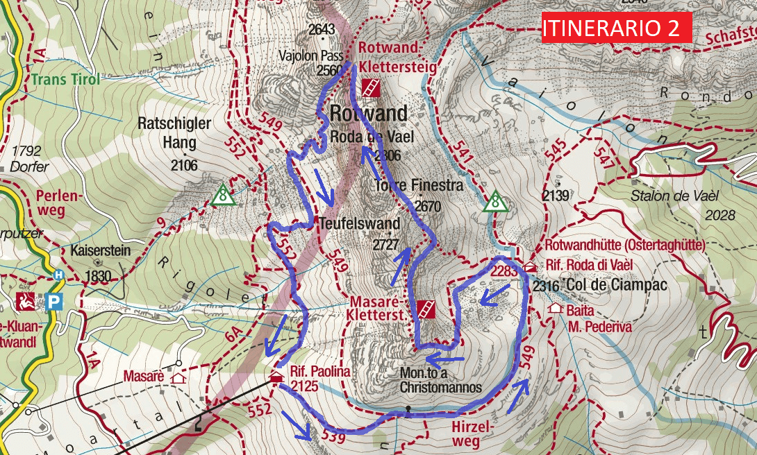 Ferrata map Masare Route 2