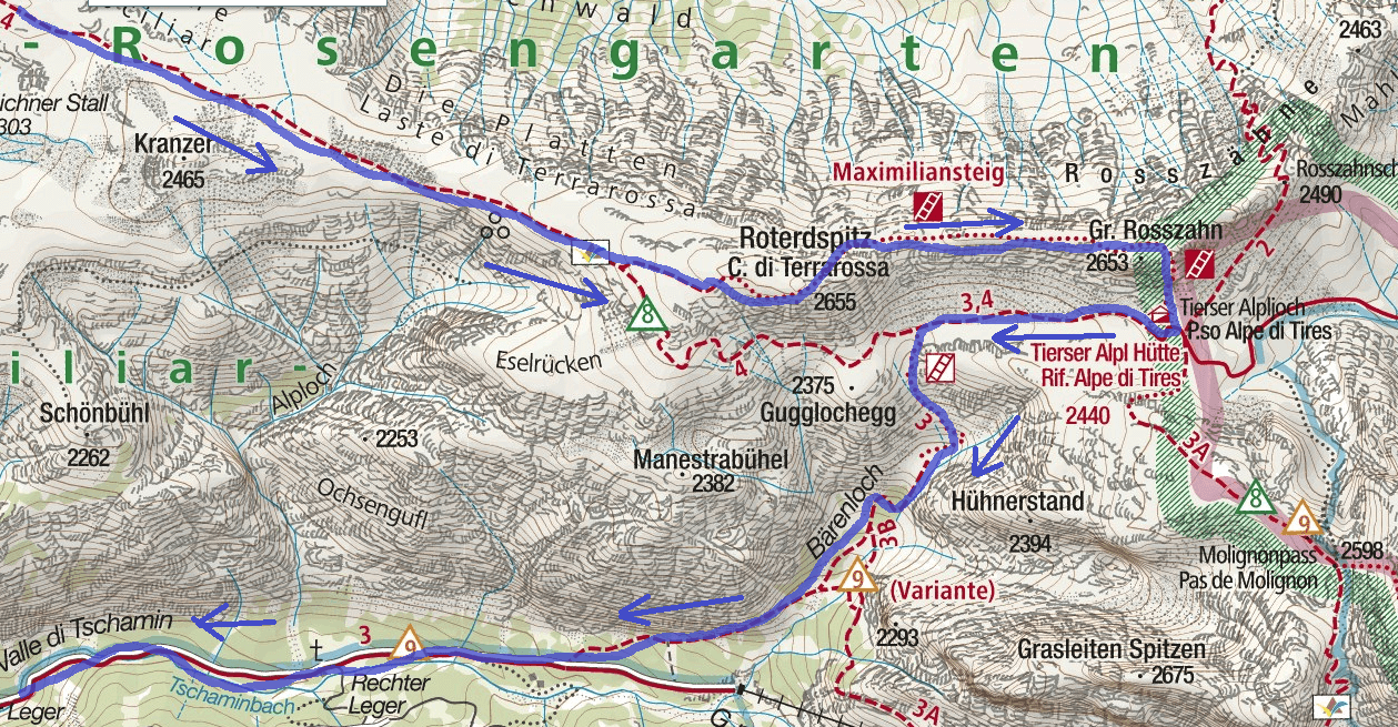 Maxilian Ferrata Map Itinerary 1 White Lavinia Detail 2