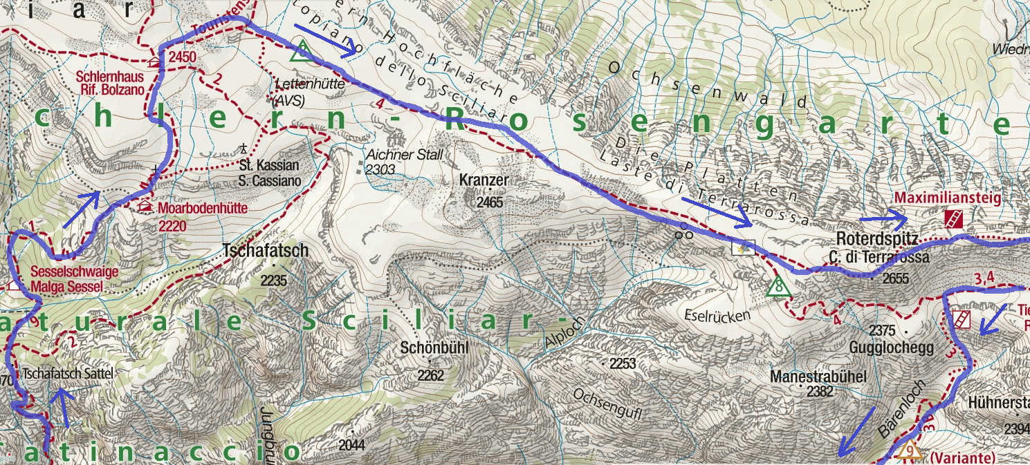 Maxilian Ferrata Map Itinerary 1 White Lavinia Detail