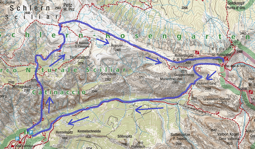 Maxilian Ferrata Map Itinerary 1 White Lavinia