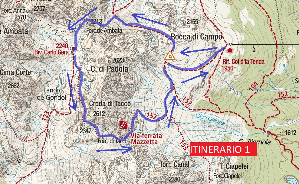 Ferrata Map Mazzetta Itinerary 1