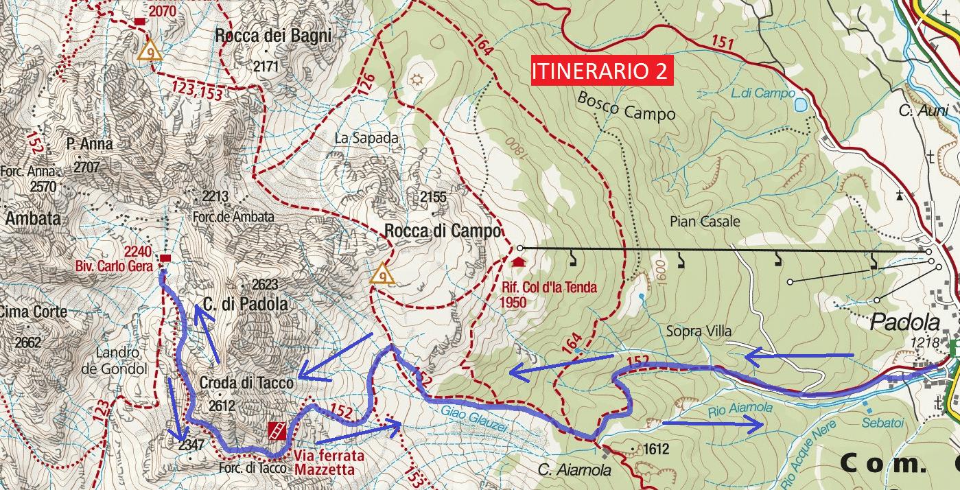 Ferrata Mazzetta Route 2 map