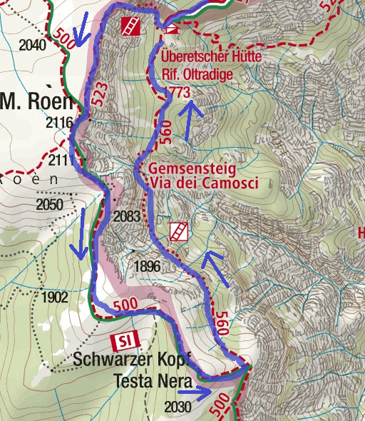 Mendola Ferrata Map Itinerary Detail