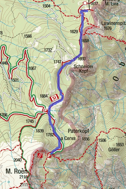 Mendola Ferrata Itinerary Map