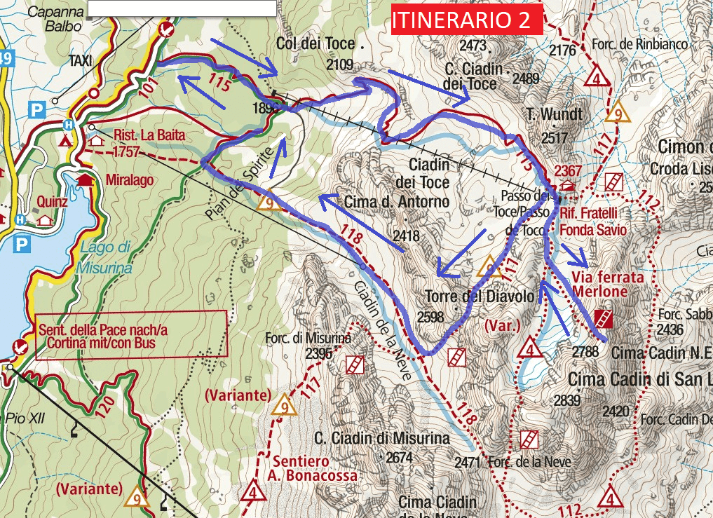 Ferrata Merlone Route 2 map