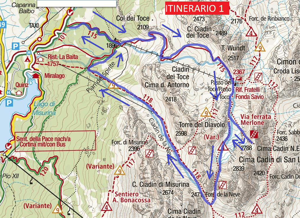 Merlone Ferrata Map Itinerary
