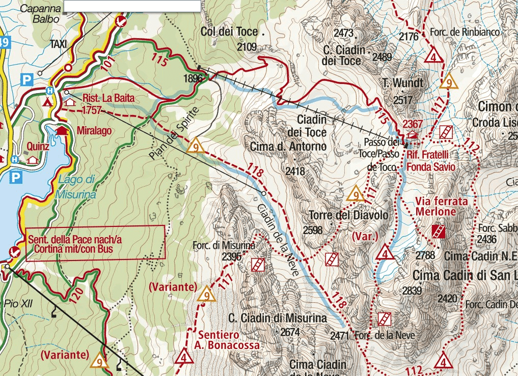 Ferrata Merlone map