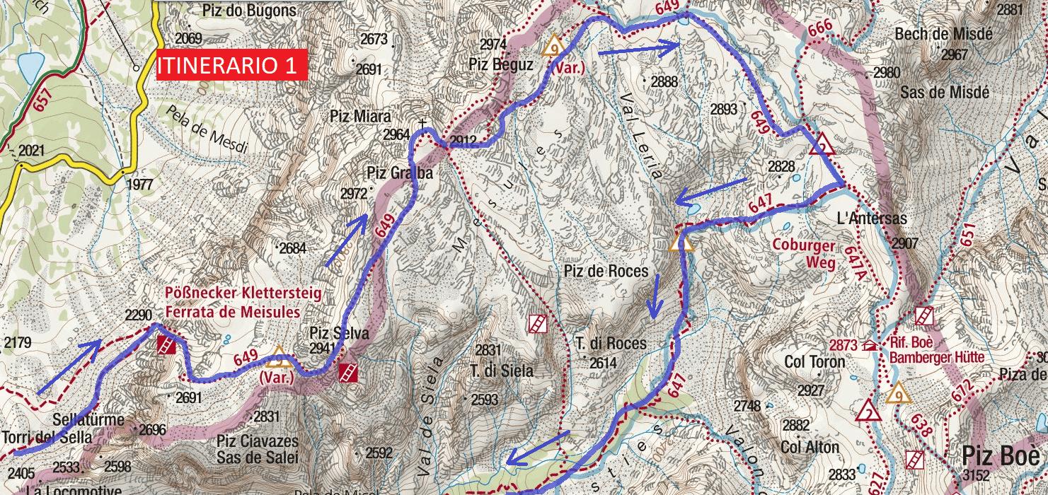 Cartina Ferrata Mesules Itinerario 1 Dettaglio