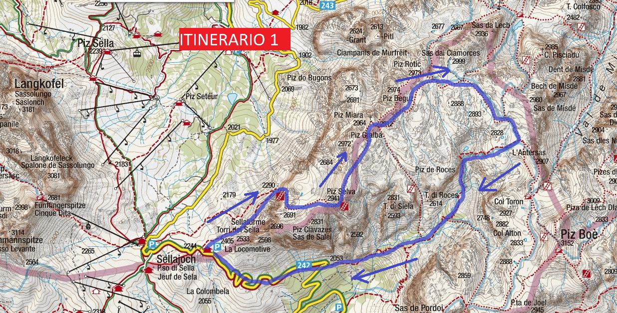 Cartina Ferrata Mesules Itinerario 1
