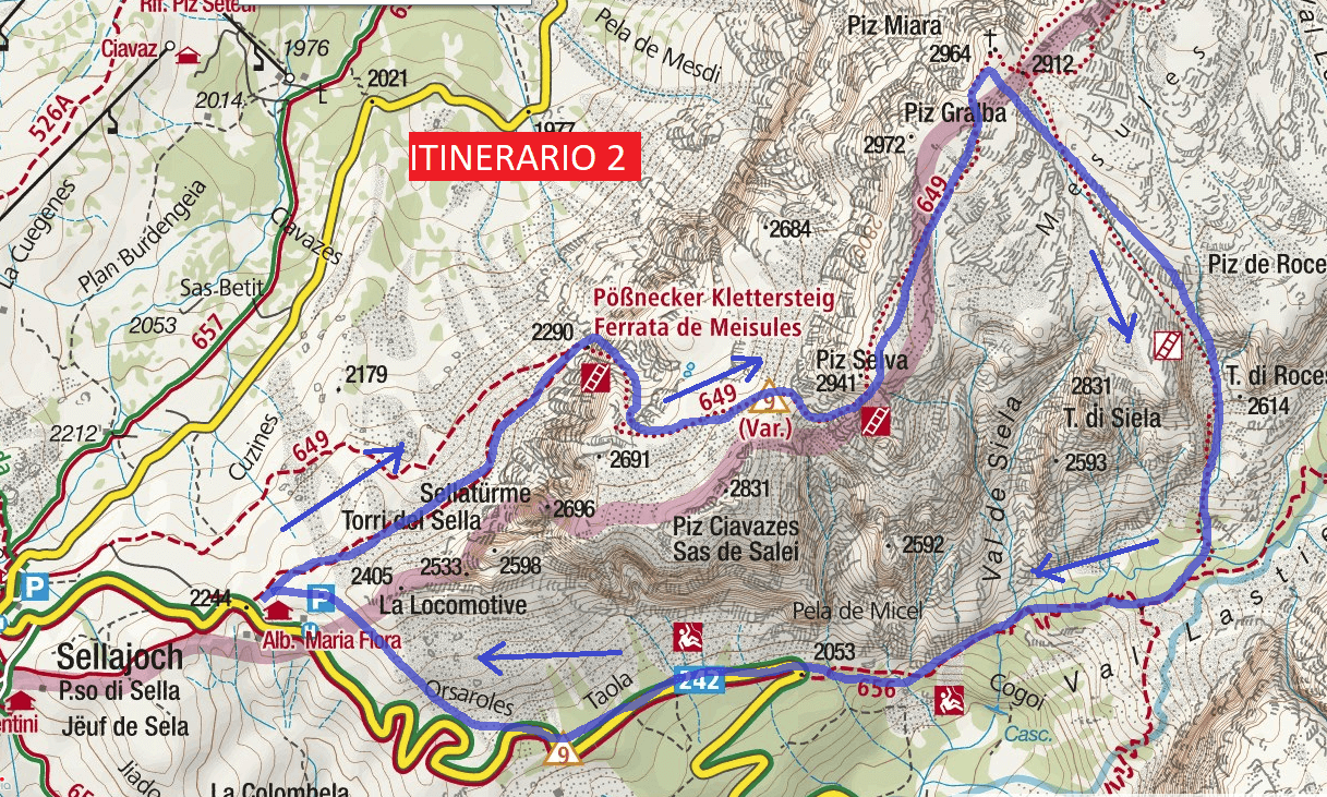 Mesules Ferrata Map Itinerary 2 Detail