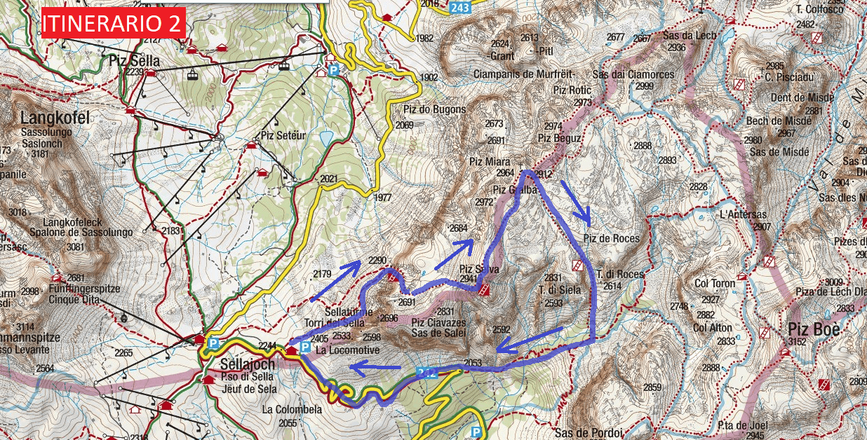 Mesules Route 2 Ferrata Map