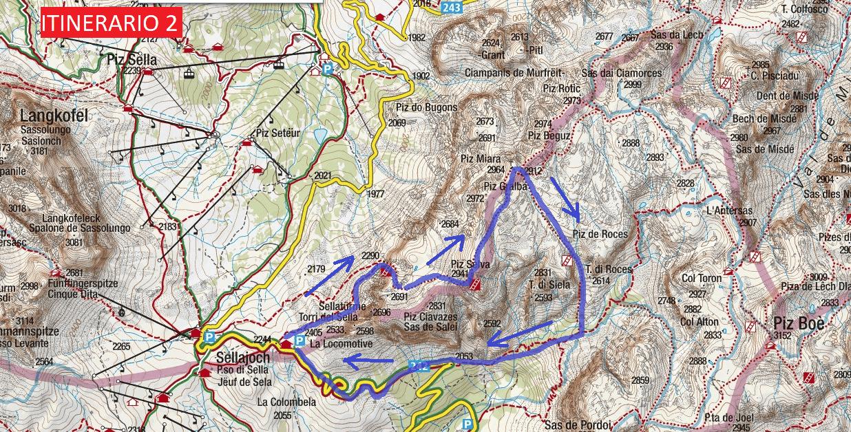 Cartina Ferrata Mesules Itinerario 2