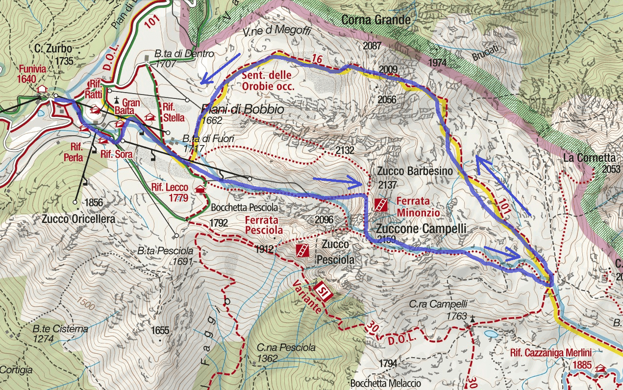 Ferrata Minonzio Route 2 map