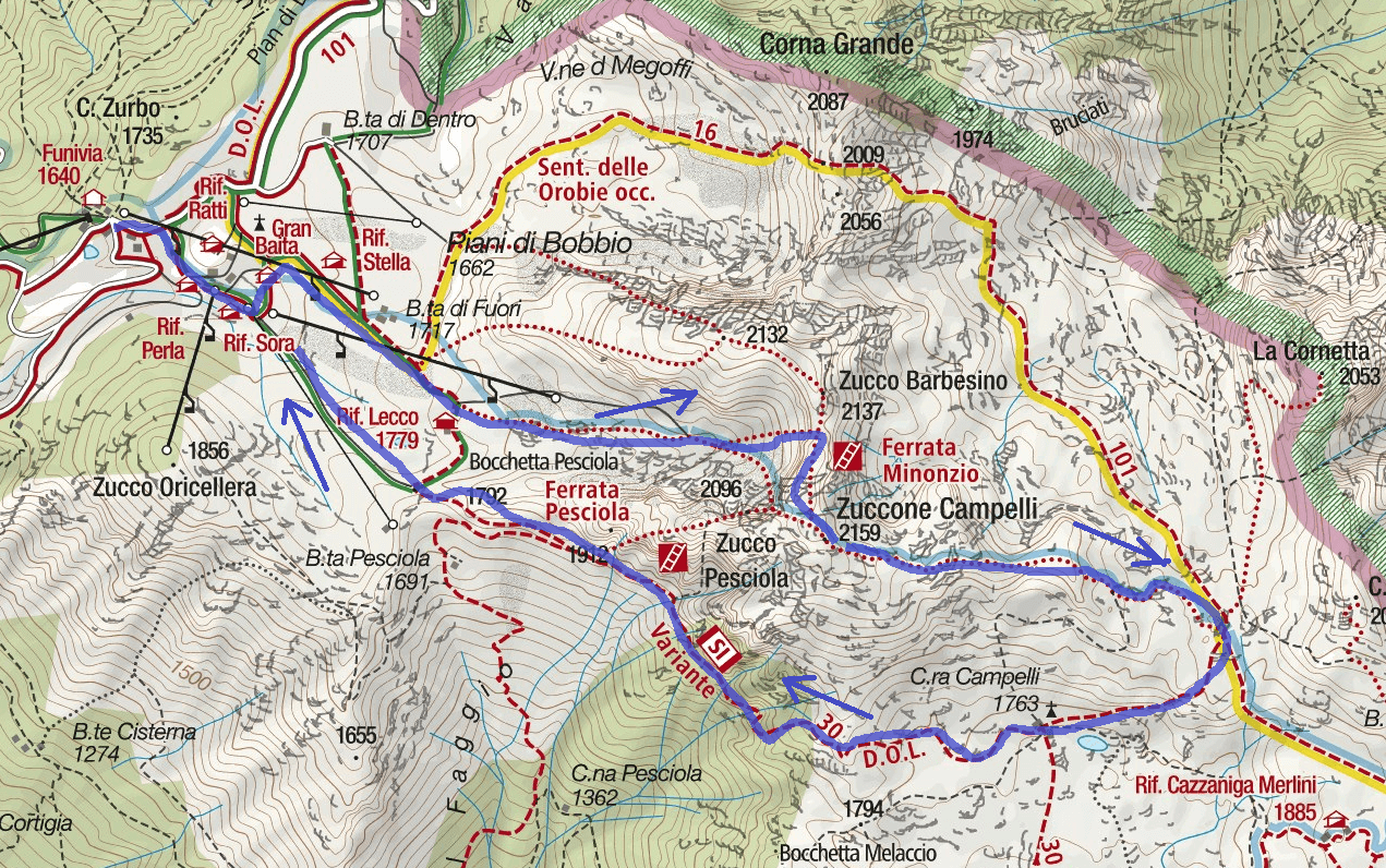 Ferrata Minonzio Route 3 map