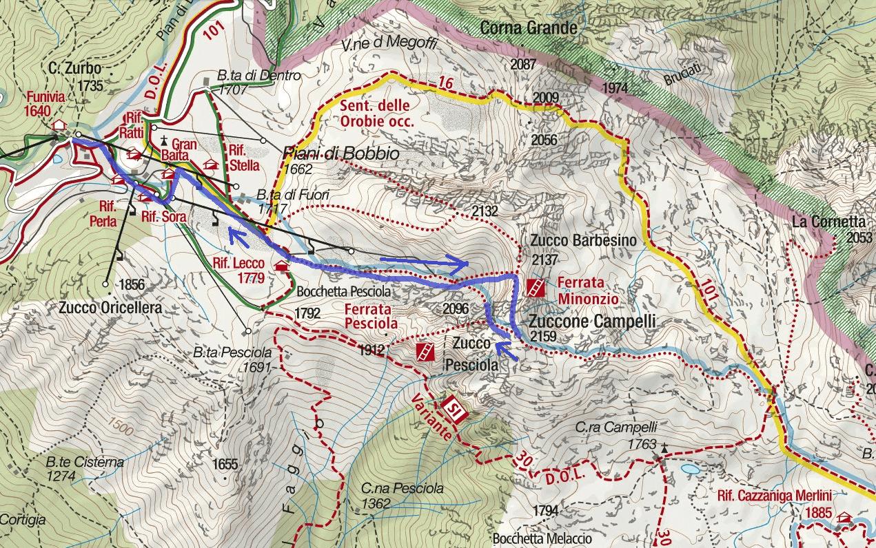 Ferrata Minonzio Route Map