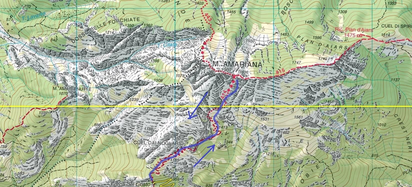 Cartina Ferrata Monte Amariana Itinerario