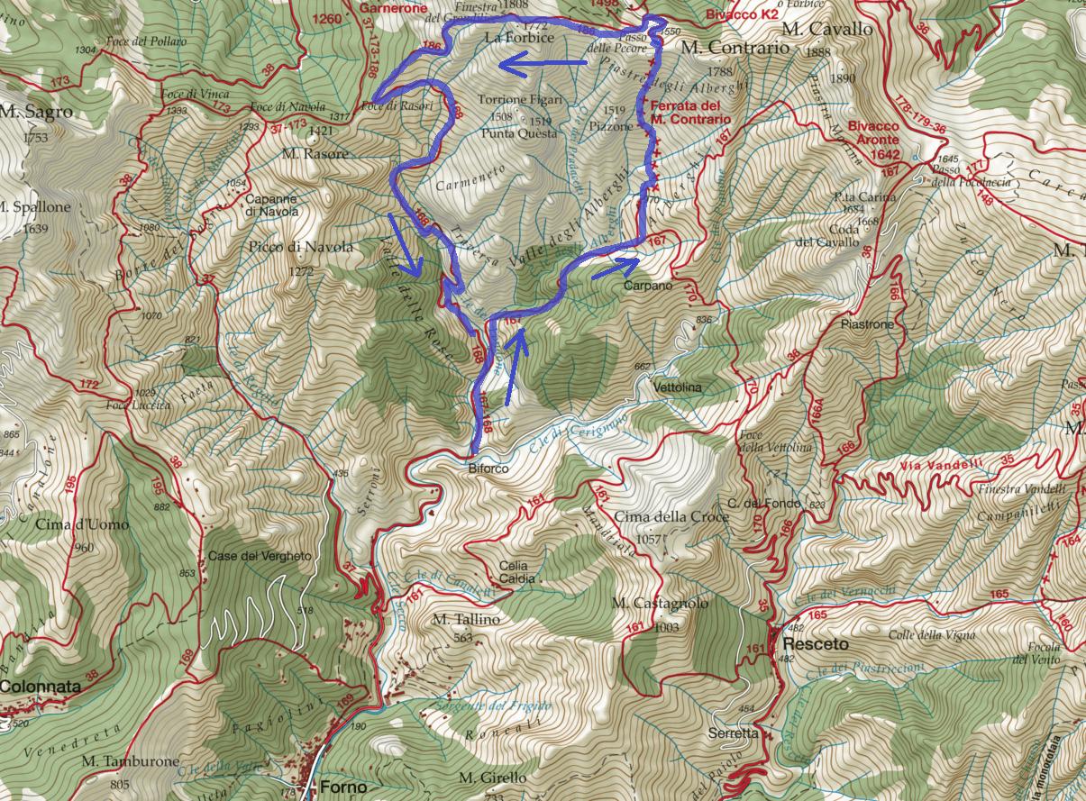 Monte Contrary Route Ferrata Map