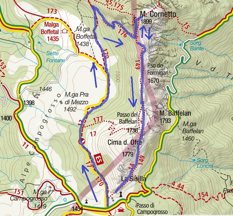 Ferrata Map Monte Cornetto Itinerary