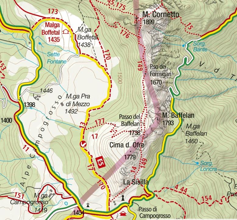 Monte Cornetto Ferrata Map