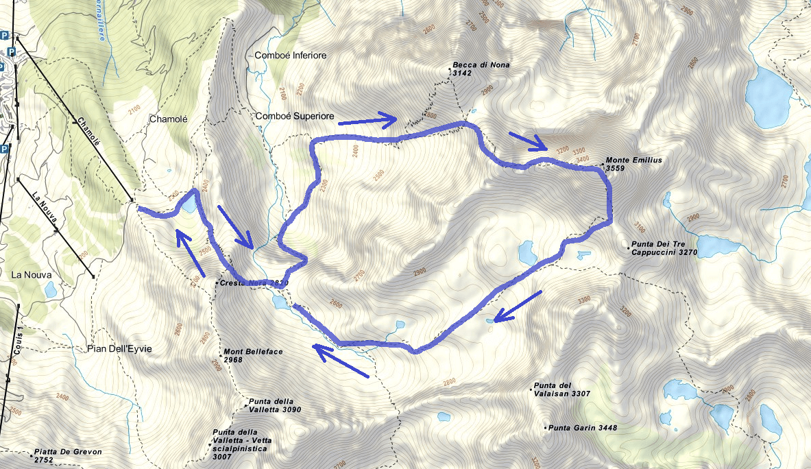 Monte Emilius Route Ferrata Map