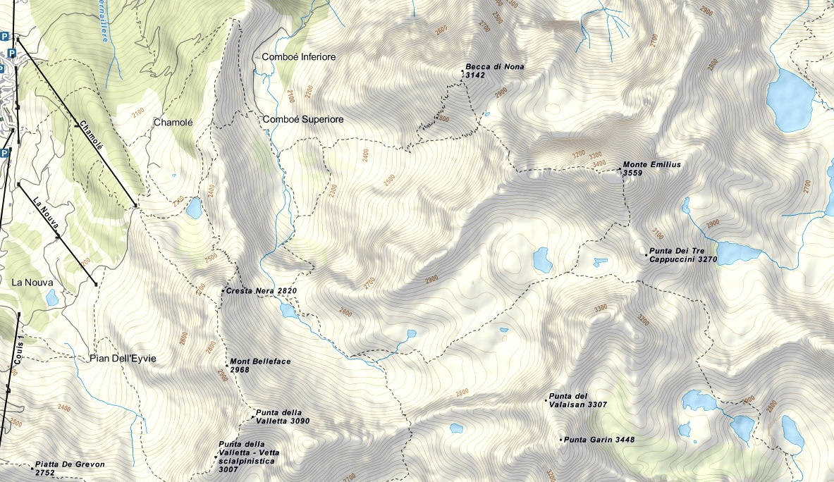 Monte Emilius Ferrata Map