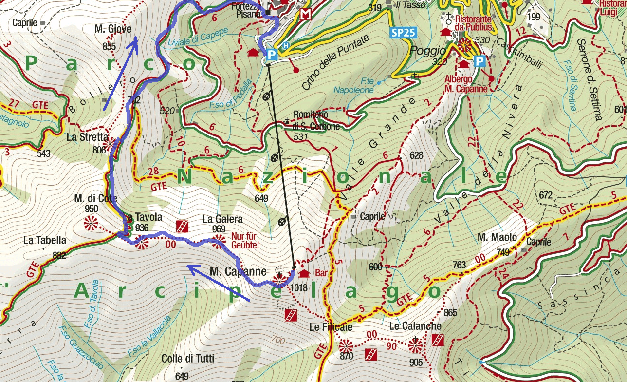Monte Galera Route Ferrata Map