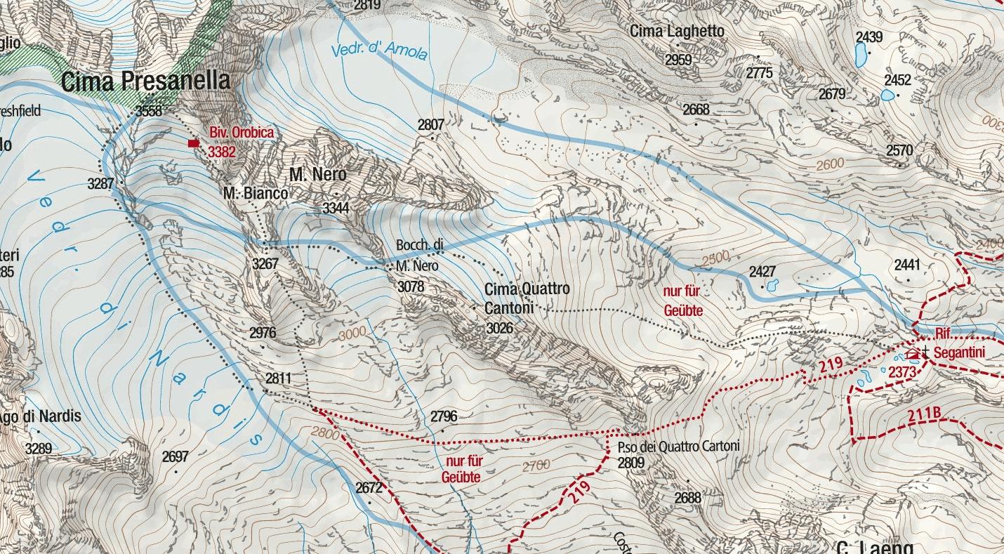 Cartina Ferrata Monte Nero Dettaglio