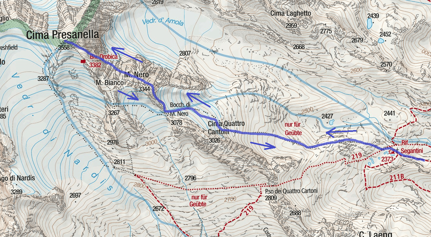 Cartina Ferrata Monte Nero Itinerario Dettaglio