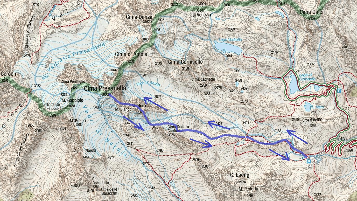 Monte Nero Ferrata Map Itinerary