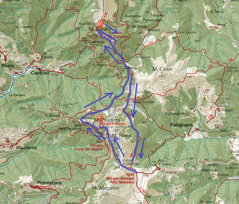 Monte Procinto Ferrata Map Itinerary with Ferrata Salvatori