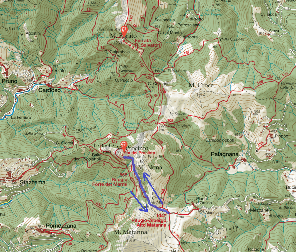 Monte Procinto Ferrata Map Itinerary
