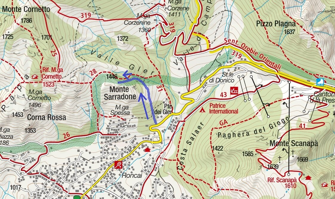 Cartina Ferrata Monte Sarradone Itinerario