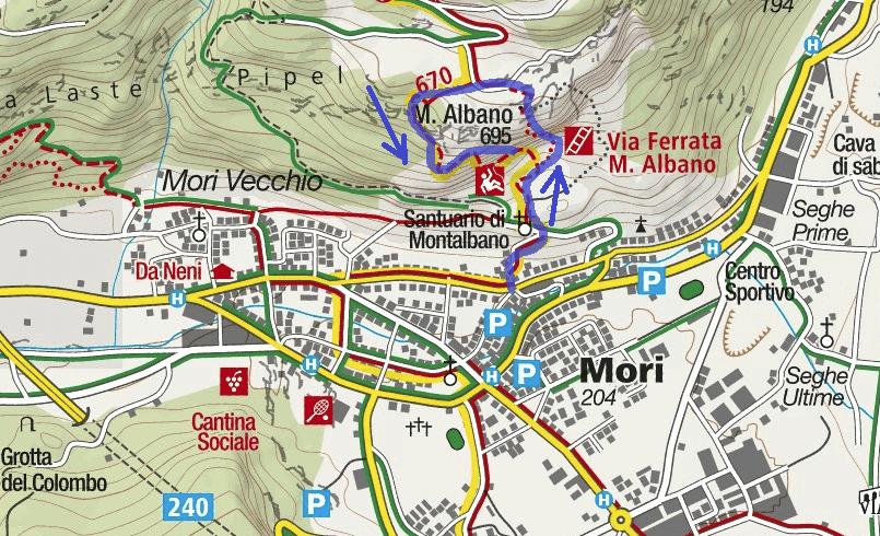 Ferrata Mori Marangoni Itinerary Map