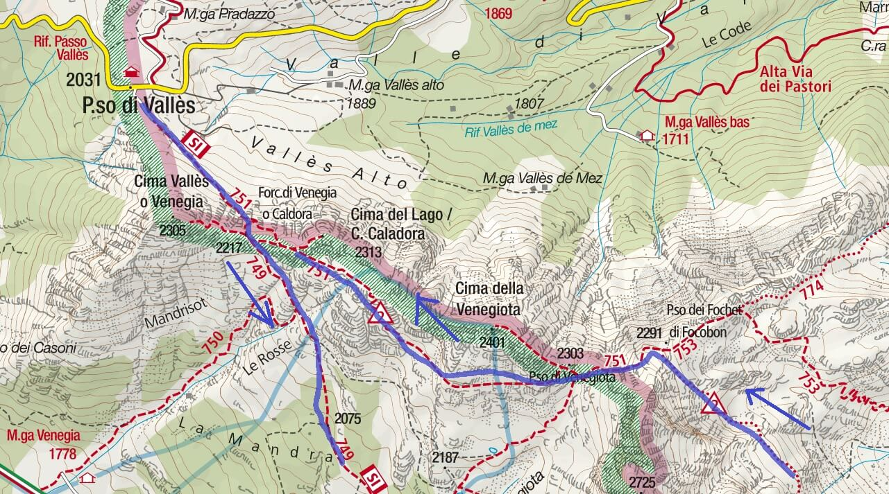 Mulaz Ferrata Map Itinerary Detail 1