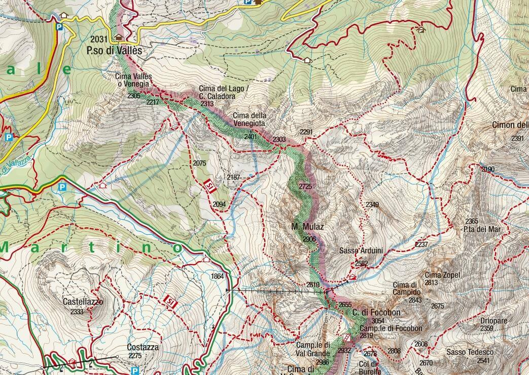 Mulaz Ferrata Map