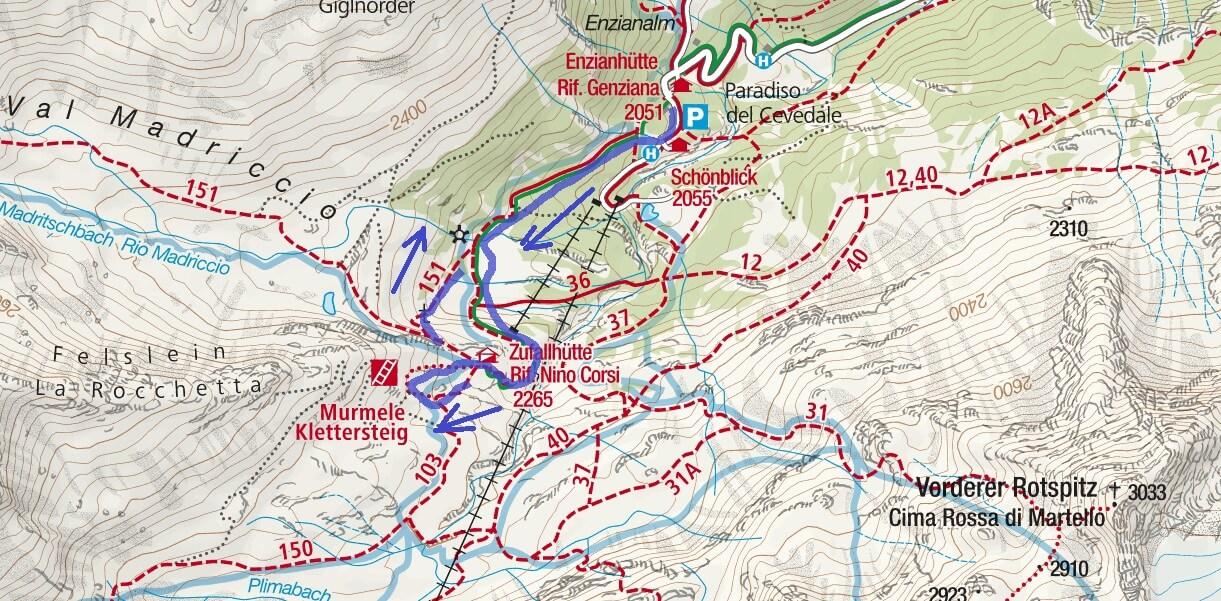 Cartina Ferrata Murmule Marmotta Itinerario