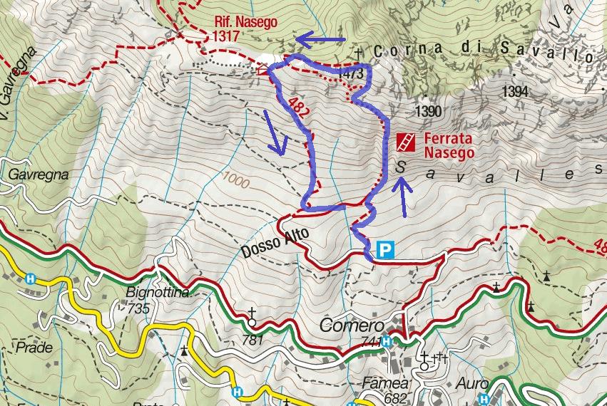 Cartina Ferrata Nasego Itinerario