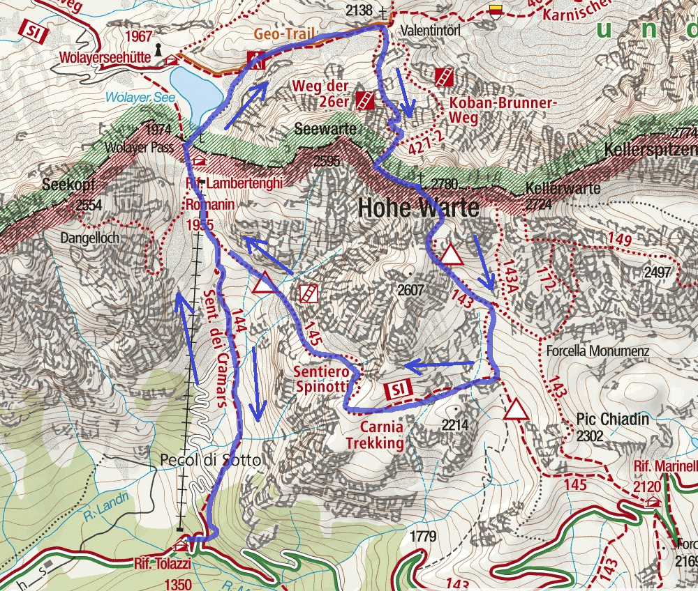 Nord Coglians Ferrata Map Itinerary