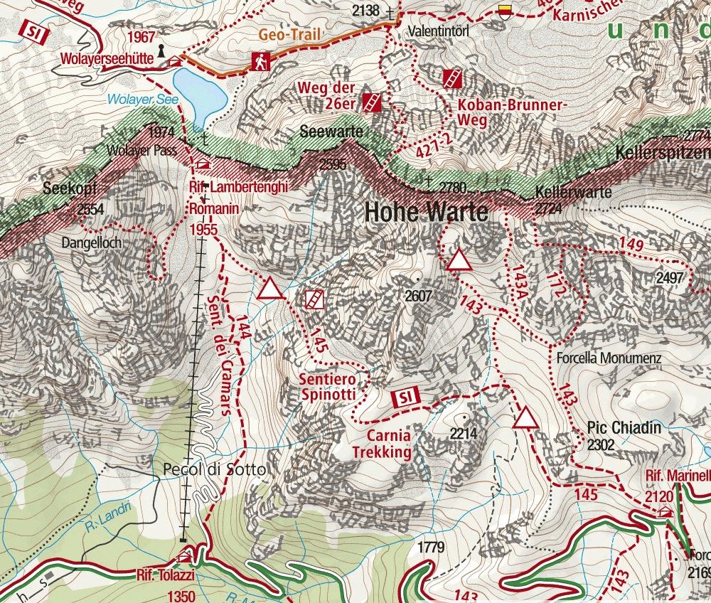 Nord Coglians Ferrata Map