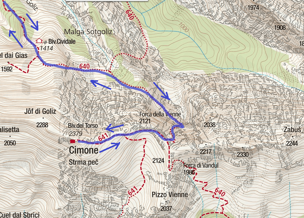Norina Ferrata Map Detail Itinerary