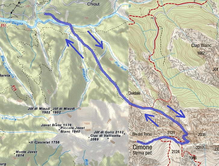 Norina Route Ferrata Map