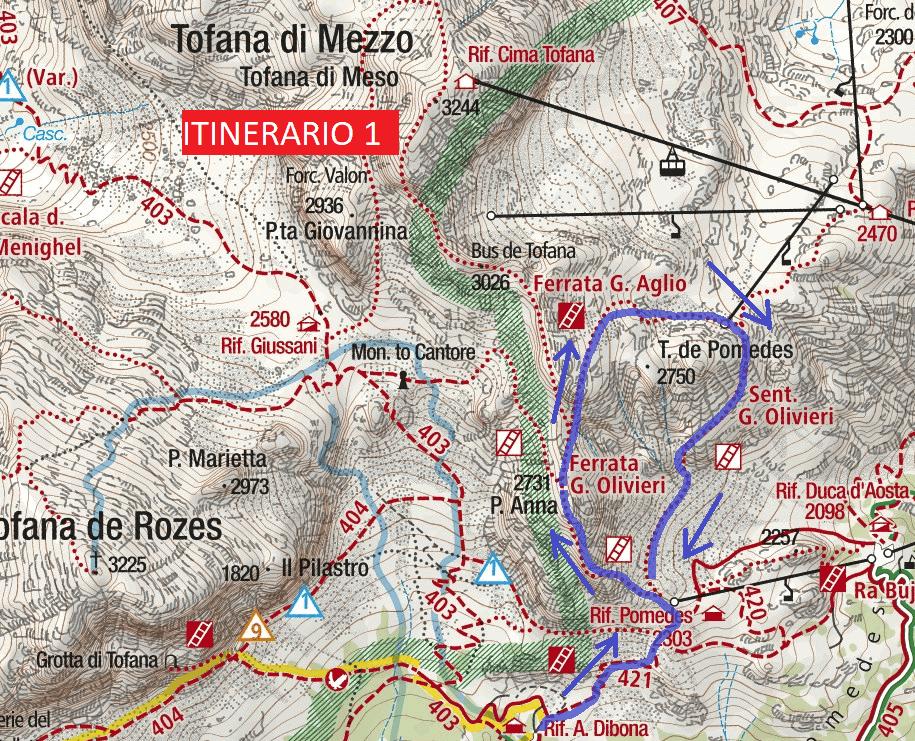 Cartina Ferrata Olivieri Punta Anna Itinerario 1