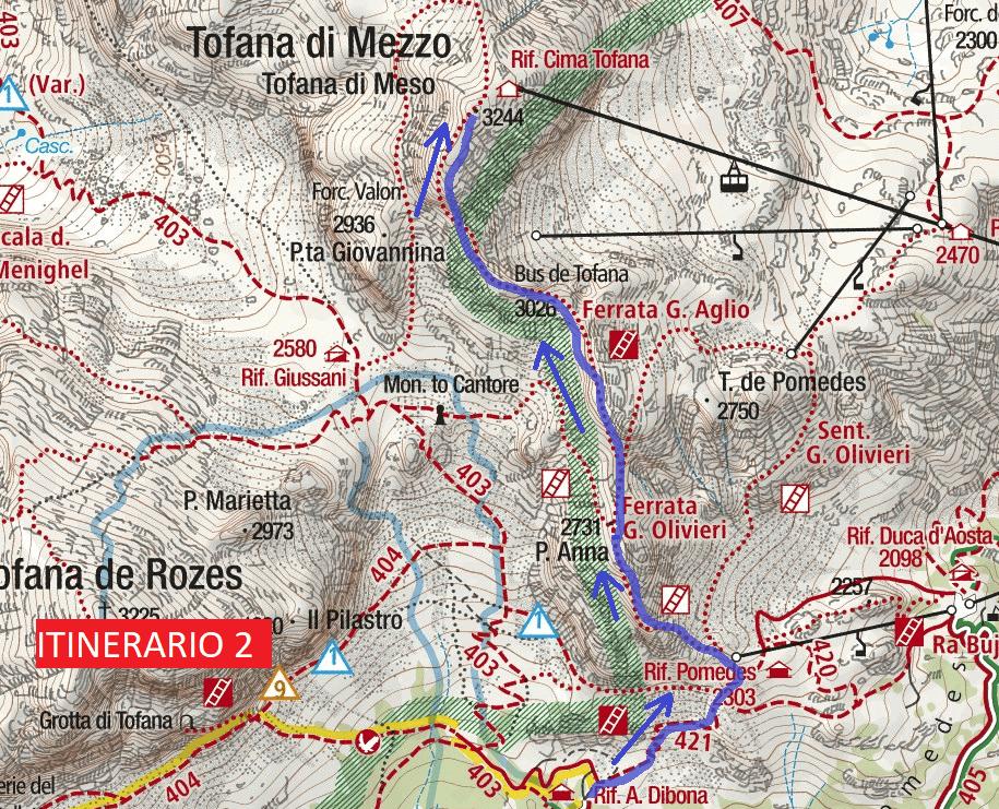 Cartina Ferrata Olivieri Punta Anna Itinerario 2