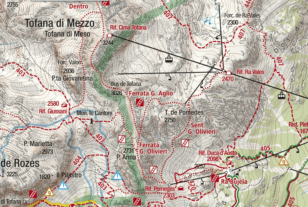 Ferrata Olivieri Punta Anna Map